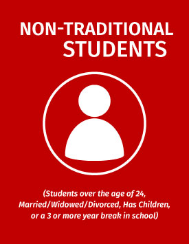 Non-Traditional Student (Students over the age of 24, Married/Widowed/Divorced, has children, or a 3 or more year break in school)
