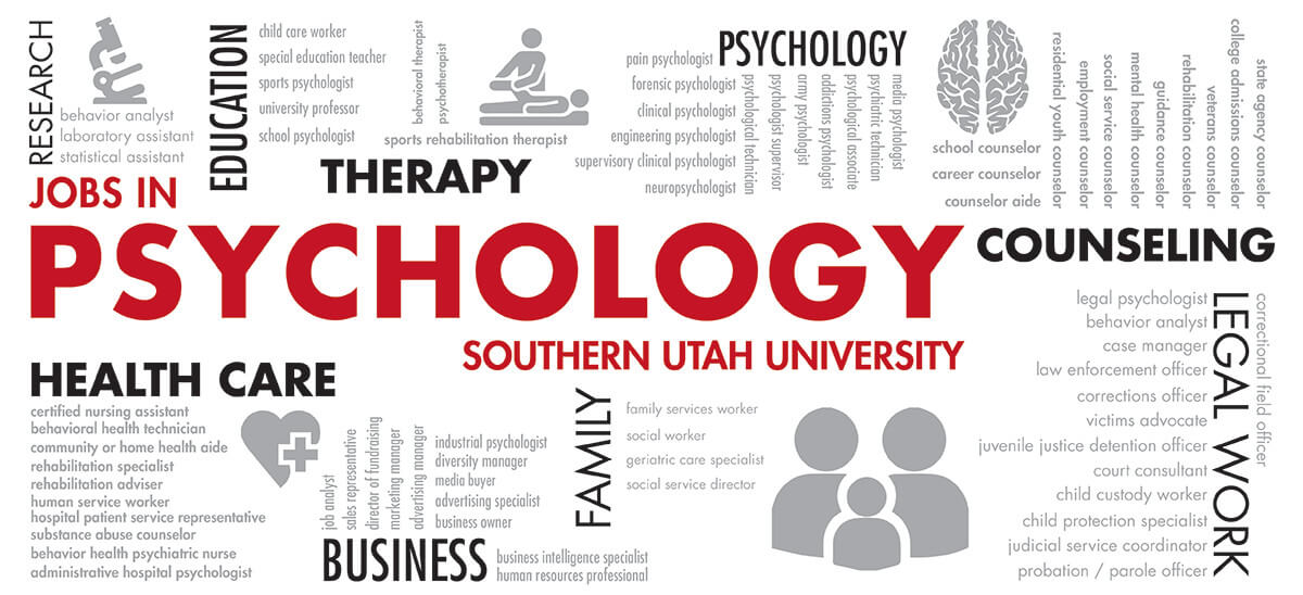 Jobs in Psychology include therapy, health care, family services worker, behavior analyst, case manager, etc.